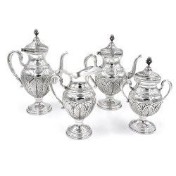 Italian Chiseled Solid Silver Tea and Coffee Set Empire Style