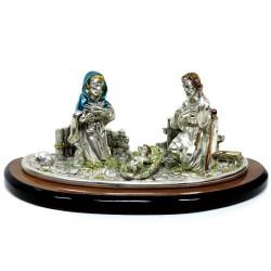 Scultura Sacra Famiglia in Resina Laminato Argento Smaltata su base Legno