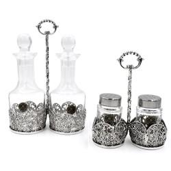 Set Olio Aceto Sale Pepe in Argento 925 e Cristallo