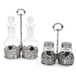 Solid Silver and Fine Crystal Cruet Set with Flowers Decoration