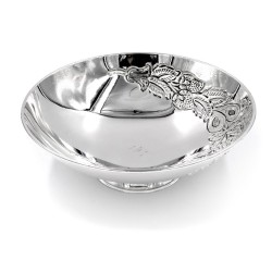 Italian Solid Silver Chiseled Bon Bon Bowl Fruit Pattern