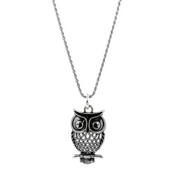 Solid Silver Necklace with Big Owl Pendant