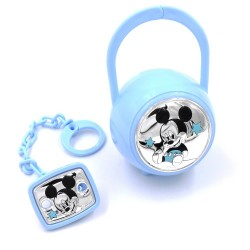 Blue Pacifier Clip with Case Baby Boy Mickey Mouse