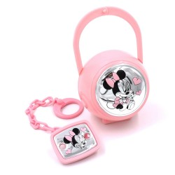 Pink Pacifier Clip with Case Baby Girl Minnie Mouse