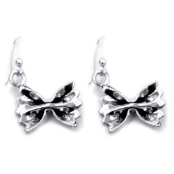 800 Sterling Silver Farfalle Pasta Earrings