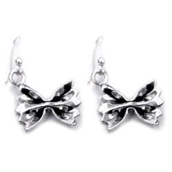 Solid Silver Farfalle Pasta Earrings