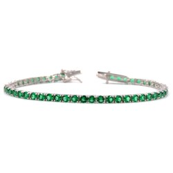925 Sterling Silver Green Tennis Bracelet