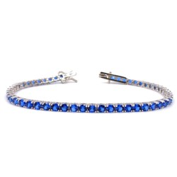 925 Sterling Silver Blue Tennis Bracelet