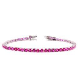 925 Sterling Silver Pink Tennis Bracelet
