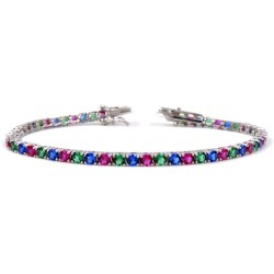 925 Sterling Silver Three Colors Tennis Bracelet
