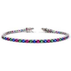 925 Sterling Silver Three Colors Tennis Bracelet