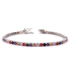 925 Sterling Silver Five Colors Tennis Bracelet