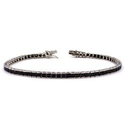 925 Sterling Silver Tennis Bracelet with Black Zircons
