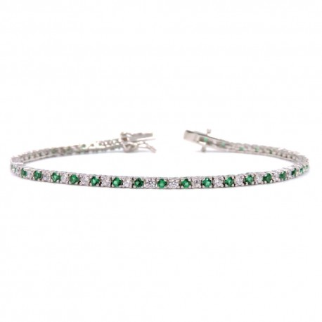 925 Sterling Silver Tennis Bracelet with White and Green Zircons