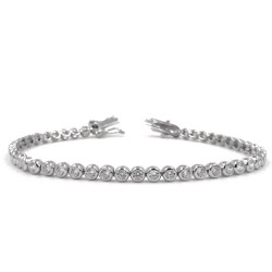 925 Sterling Silver Tennis Bracelet with Round White Zircons