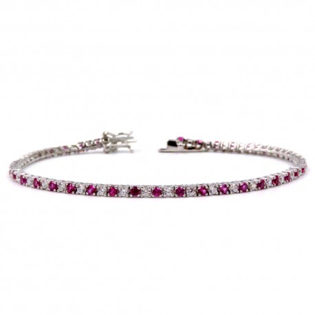 925 Sterling Silver Tennis Bracelet with White and Pink Zircons