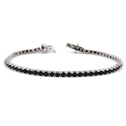 925 Sterling Silver Black Tennis Bracelet Length 7''