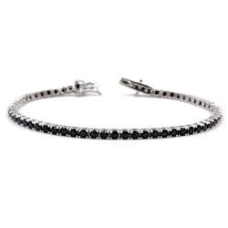 925 Sterling Silver Black Tennis Bracelet Length 7''