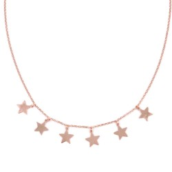 Pink Gold Plated Solid Silver Necklace with  Star Pendants