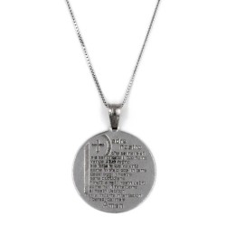 Solid Silver Necklace with Padre Nostro Prayer Medal