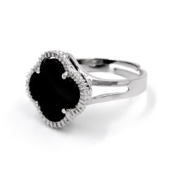Anello in Argento Sterling 925 con Croce in Pietra Onice