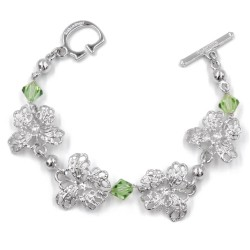 925 Sterling Silver Bracelet with Butterflies And Green Swarovski