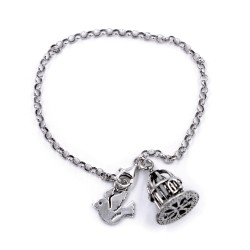 Sterling Silver Chain Bracelet with Open Cage and Free Bird Pendants