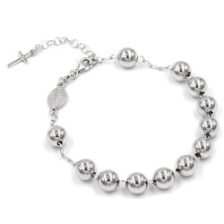 925 Sterling Silver Rosary Bracelet with Boules