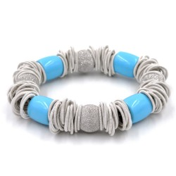 Elastic Silver Bracelet With Turquoise Stones and Shining Boules by 5^Essenza