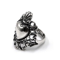 Solid Silver Holy Heart Ring with Embroidery