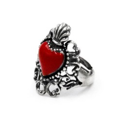 Enamelled Solid Silver Holy Heart Ring with Embroidery