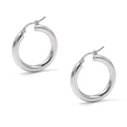 925 Sterling Silver Thick Hoop Earrings Diameter 1,37''