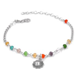 925 Sterling Silver Bracelet with Sun Pendant and Colored Stones