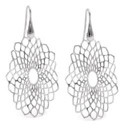 925 Sterling Silver Oval Flower Pendant Earrings