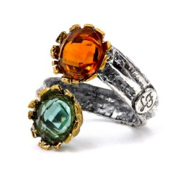 925 Sterling Silver Ring with Orange and Green Natural Stones