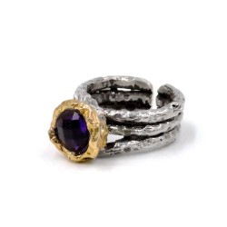 925 Sterling Silver Ring with Amethyst Natural Stone