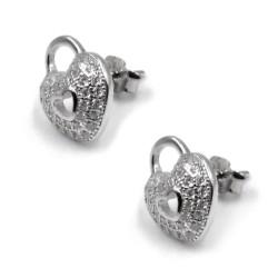 925 Sterling Silver Heart Lock Earrings
