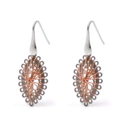 925 Sterling Silver Earrings with Pink Gold Plated Silver Threads