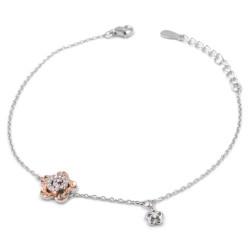 925 Sterling Silver Spiral Flower Bracelet