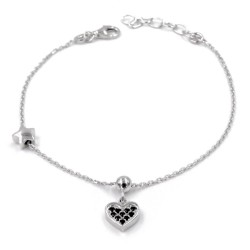 925 Sterling Silver Little Heart Bracelet with Black Zircons