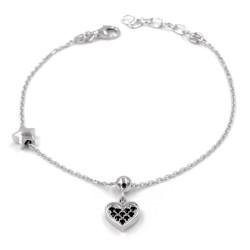 925 Sterling Silver Little Heart Bracelet with Black Zircons