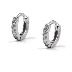 925 Sterling Silver Hoop Earrings with White Zircons