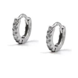 925 Sterling Silver Hoop Earrings with White Zircons