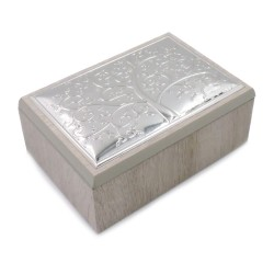 Wooden Jewelry Box with Silver Tree of Life Cover