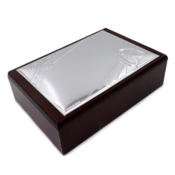 25th Anniversary Wooden Jewelry Box with PVD Silver Cover