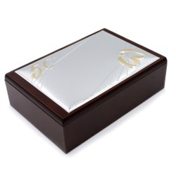 50th Anniversary Wooden Jewelry Box with PVD Silver Cover