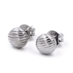 925 Sterling Silver Earrings Small Striped Button