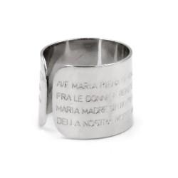 Anello Fascia in Argento 800 con Preghiera Ave Maria