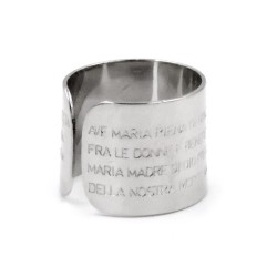 Solid Silver Band Ring with Ave Maria Prayer