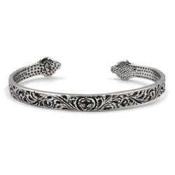 Holy Heart Solid Silver Oval Rigid Bracelet